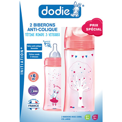 Coffret de 2 biberons sans bpa initiation+ fille 330 ml Dodie