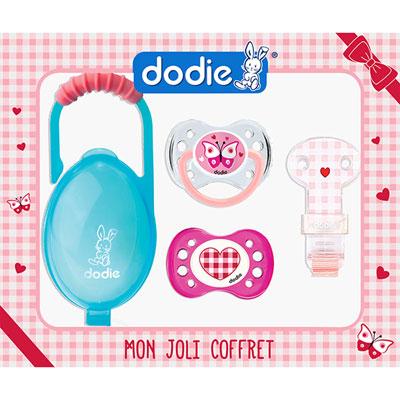 Dodie Coffret de 2 sucettes, attache-sucette et boîte à sucettes fille 1