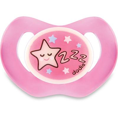 Dodie Sucette bébé silicone nuit 6 mois et plus étoile rose