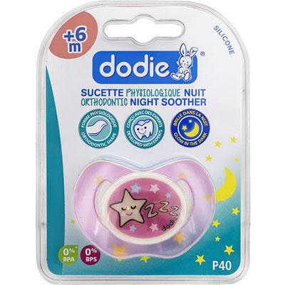 Dodie Sucette bébé silicone nuit 6 mois et plus étoile rose 1