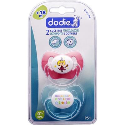 Lot de 2 sucettes silicone 18 mois et plus maman et princesse Dodie