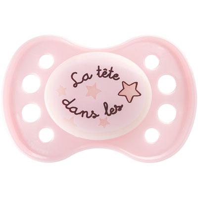 Dodie Sucette silicone nuit 1er âge rose