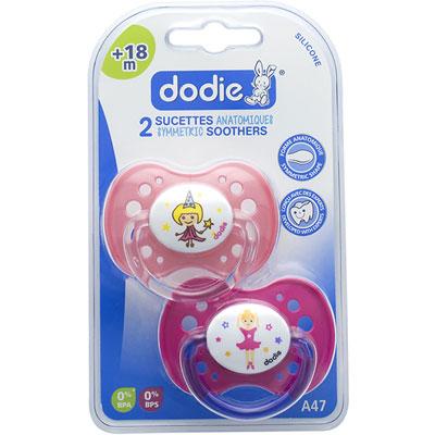 Lot de 2 sucettes silicone 18 mois et plus princesse et danseuse Dodie
