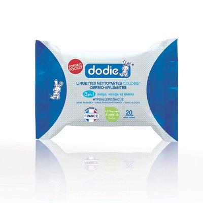 Lingettes nettoyantes 3en1 pocket 20 pièces Dodie