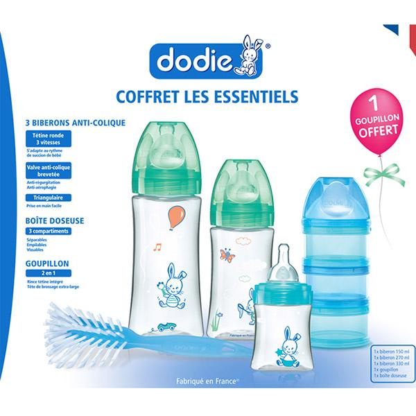 Coffret essentiel 3 biberons initiation+ +1goupillon +1 boîte dosseuse Dodie