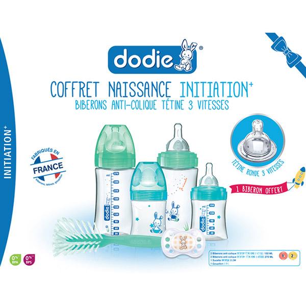 Coffret naissance 4 biberons initiation+ +1goupillon +1sucette Dodie