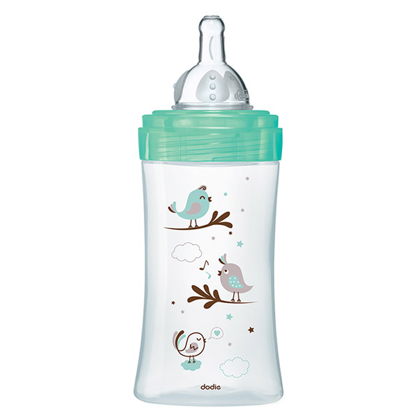 Biberon verre initiation+ vert oiseaux 270ml Dodie