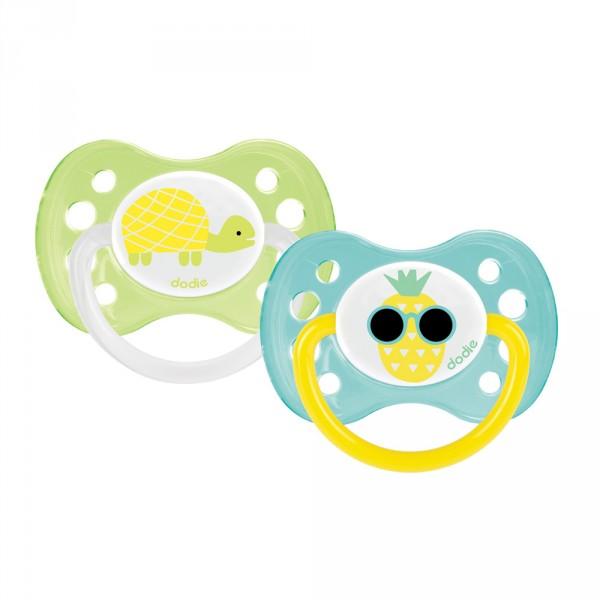 Lot de 2 sucettes bébé silicone 6 mois et plus papillon et princesse Dodie