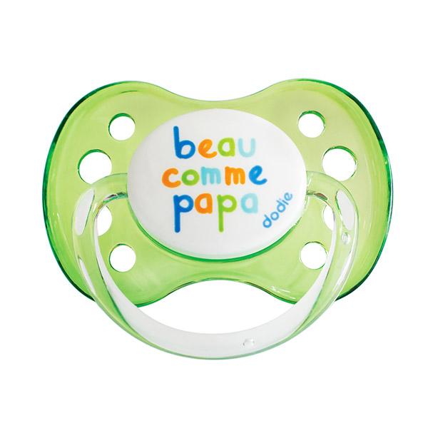 Sucette bébé silicone avec anneau 0-6 mois beau comme papa vert Dodie