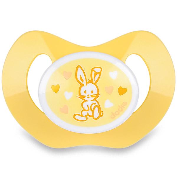 Sucette silicone nouveaux-nés valentin jaune Dodie
