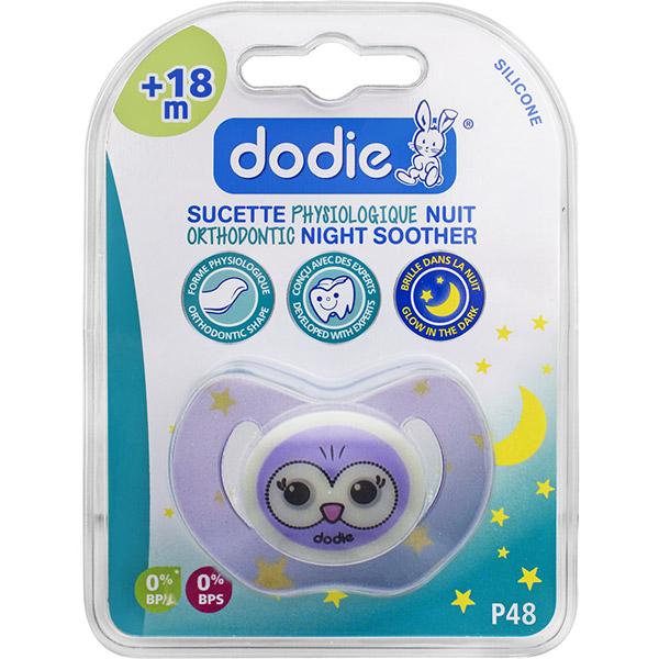 Sucette silicone nuit 18 mois et plus chouette Dodie