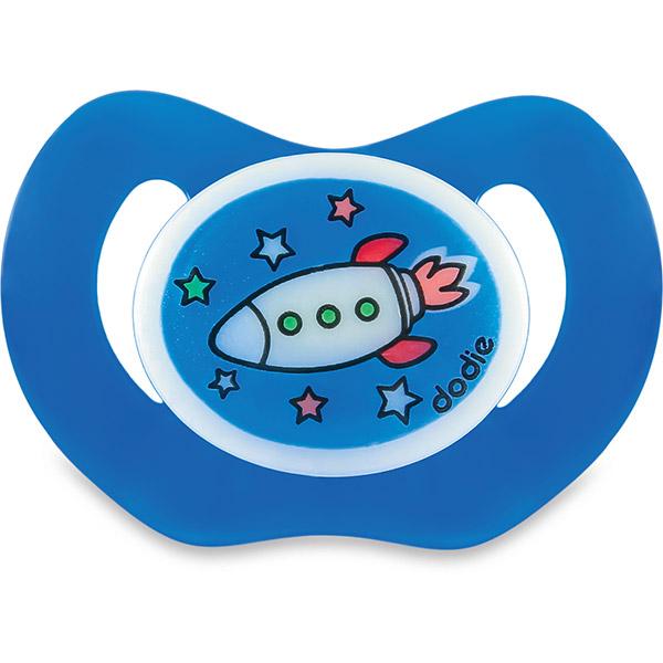 Sucette bébé silicone nuit 6 mois et plus fusée bleu Dodie