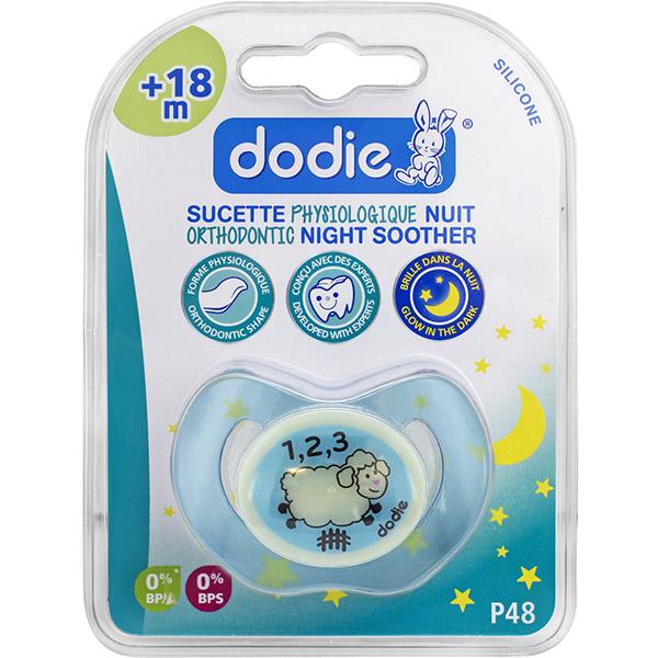 Sucette silicone nuit 18 mois et plus mouton Dodie