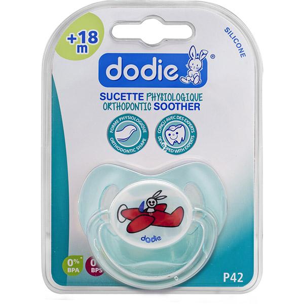 Sucette bébé silicone 18 mois et plus avion bleu Dodie