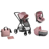 Pack poussette trio slide avec nacelle crib et coque one be solid pink