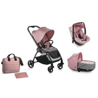 Pack poussette trio outback avec nacelle crib et coque one be solid pink