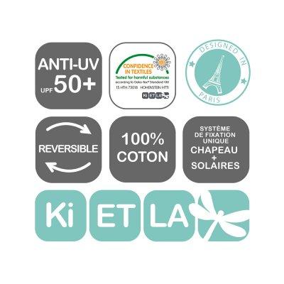 Chapeau kapel anti-uv reversible 2/4 ans graphik style Ki et la