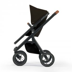 Poussette combiné duo puro châssis noir base noir habillage marron