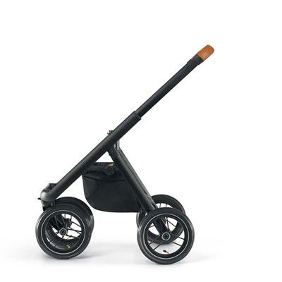 Pack poussette duo puro châssis noir base marron habillage marron Neonato