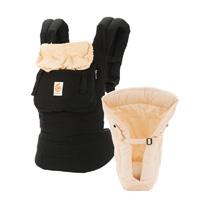 Porte bébé physiologique original + coussin nouveau né noir / beige