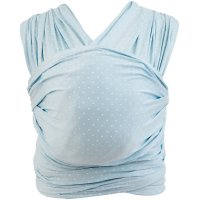 Echarpe de portage aura bleu layette pois blanc