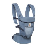 Porte-bébé physiologique adapt cool air mesh bleu gris