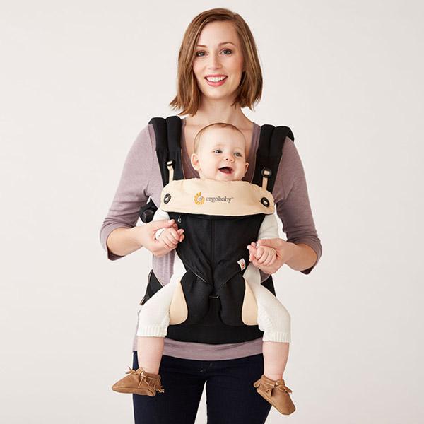 Porte-bébé physiologique 4 positions 360 + coussin noir / beige Ergobaby
