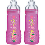 Lot de 2 biberons easy active 330 ml rose tétine débit x