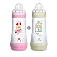 Lot de 2 biberons easy start anti-colique 320 ml fille tétine debit 3