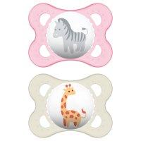 Lot de 2 sucettes anatomique décor animaux 0-6 mois silicone fille