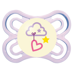 Sucette perfect nuit 0-6 mois silicone coeur rose