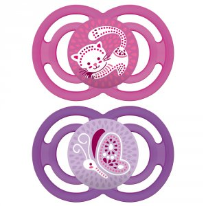 Lot de 2 sucettes perfect 6 mois+ silicone fille