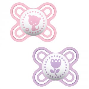 Lot de 2 sucettes perfect 0-2 mois silicone fille