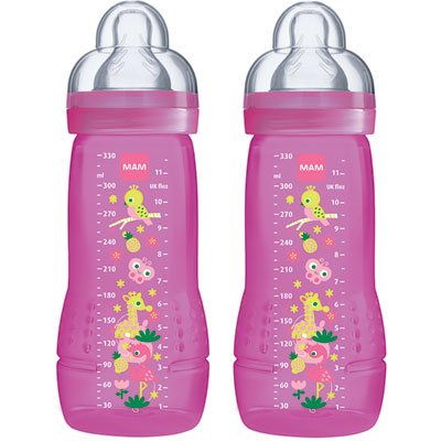 Lot de 2 biberons easy active 330 ml rose tétine débit x Mam