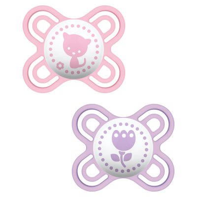 Lot de 2 sucettes perfect 0-2 mois silicone fille Mam