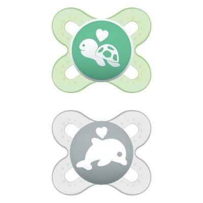 Lot de 2 sucettes anatomique naissance 0-2 mois silicone mixte Mam
