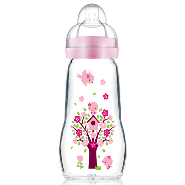 Biberon verre 1er âge 260 ml décoré rose tétine débit 2 Mam