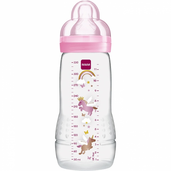 Biberon 330ml cercles rose tétine debit x Mam