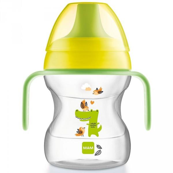 Tasse d'apprentissage 6-12 mois bec souple vert190 ml Mam