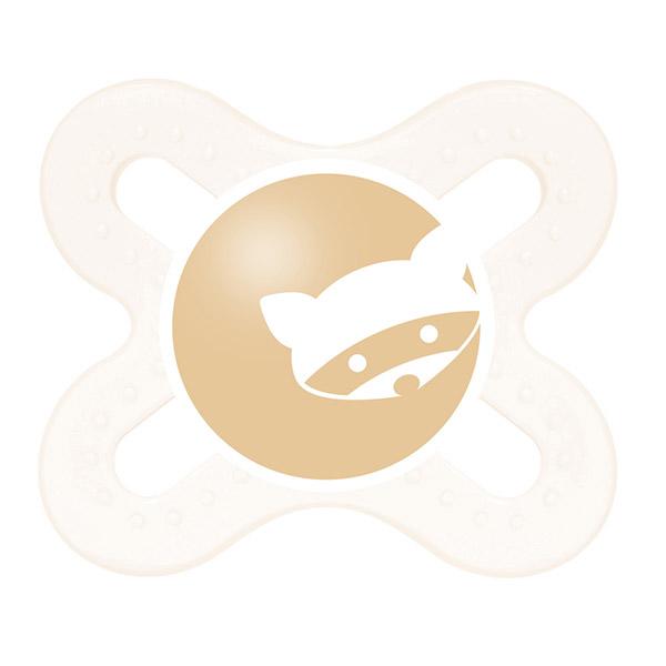 Sucette silicone 0-2 mois + boite de sterilisation raton laveur Mam