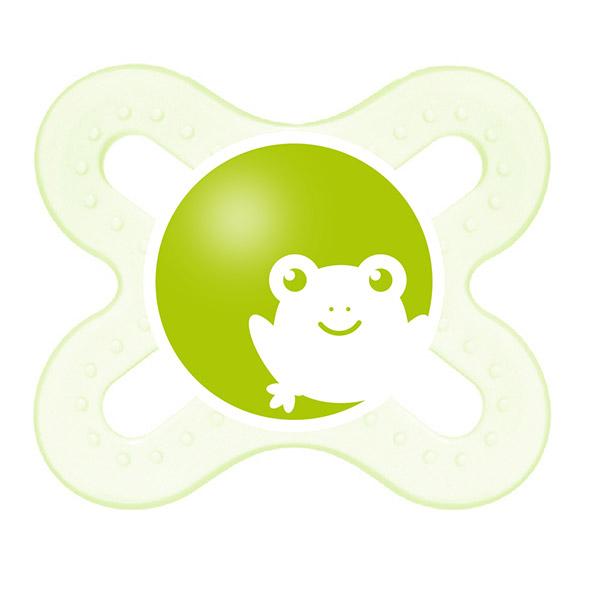 Sucette silicone 0-2 mois + boite de sterilisation grenouille Mam