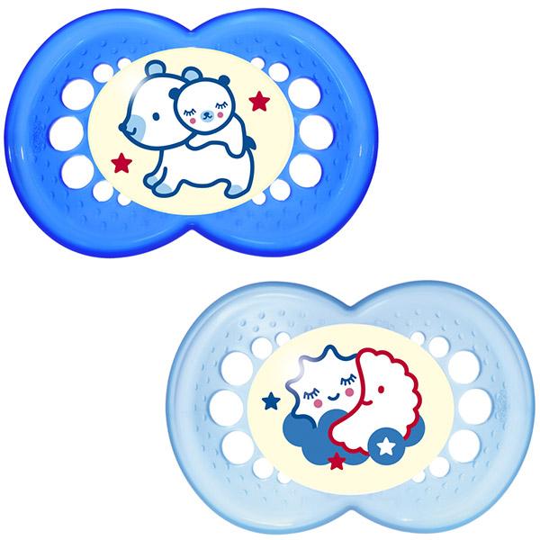 Lot de 2 sucettes silicone nuit 18 mois + boite de stérilisation bleu Mam