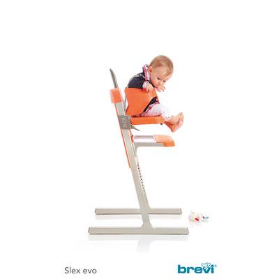 Chaise haute bébé slex evo rose Brevi