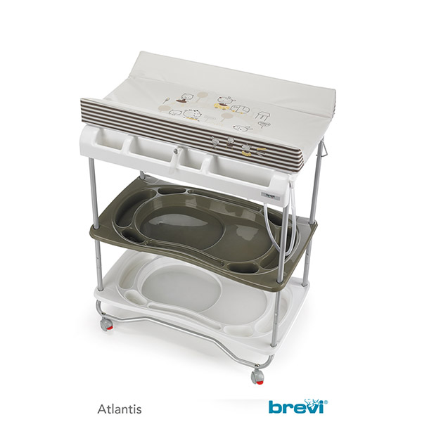 Table langer atlantis avec baignoire chocolat 35 sur for Table a langer atlantis