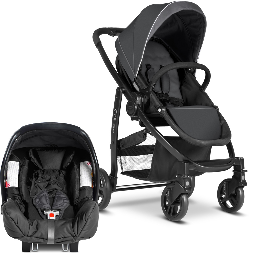 poussette combin duo evo junior baby charcoal ts de graco chez naturab b. Black Bedroom Furniture Sets. Home Design Ideas