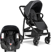 Pack poussette duo evo + junior baby charcoal ts