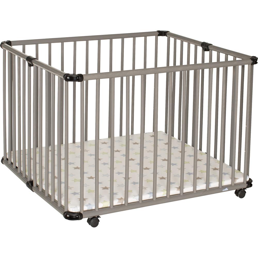 Parc b b lucilee pliant 94x102cm gris toile de geuther for Parc bebe exterieur