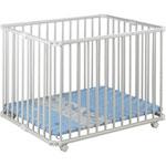 Parc bébé lucilee pliant blanc 80 x 102 cm fond bleu animaux pas cher