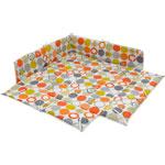 Tour de parc 102 x 102 cm avec fond rond orange gris pas cher