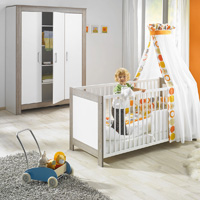Chambre bébé duo marléne lit et armoire 3 portes cérusé/blanc